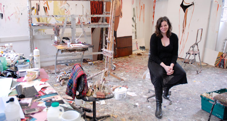 The artist Chantal Joffe in her studio. © Brian Benson 2013